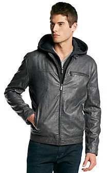Kenneth Cole Reaction Men's Faux Leather Jacket with Jersey Hood
