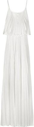 Halston Plissé two-tier silk maxi dress