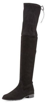 Stuart Weitzman Lowland Suede Over-The-Knee Boot, Black $798 thestylecure.com