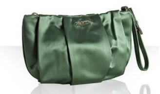 Prada green pleated satin zip wristlet