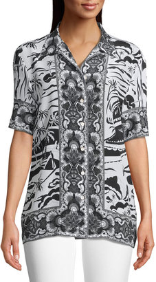 Robert Graham Leila Contrast Border Short-Sleeve Shirt
