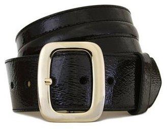 "Lodis Astor"" Black Patent Leather Metal Buckle 2"" High Waist Belt"