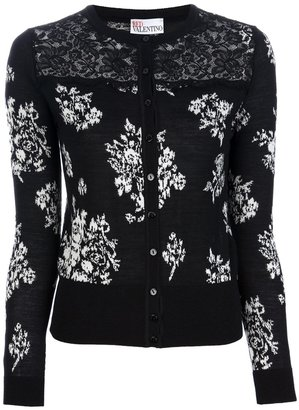 RED Valentino lace detail floral cardigan