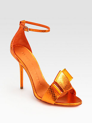 Burberry Berkeley Snakeskin Bow Sandals