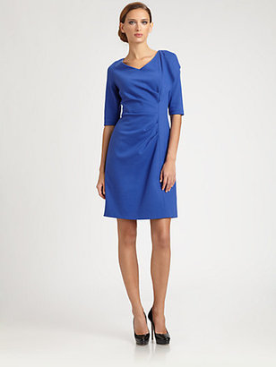 Kay Unger Ponte Side Drape Dress
