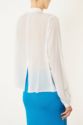 Topshop Tall Silk Slash Back Shirt