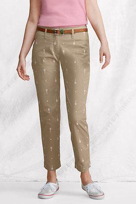 Lands' End Women's Regular Fit 2 Embroidered Ankle Pants