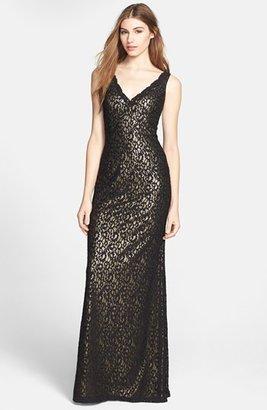 Aidan Mattox Lace Overlay Metallic Gown
