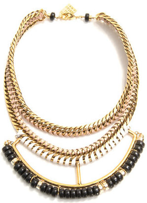 Lizzie Fortunato Open spaces chain and leather necklace