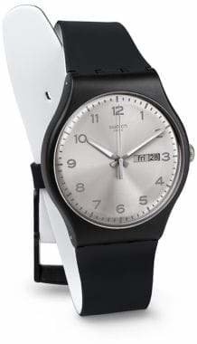Swatch Silver Friend Silicone Strap Watch