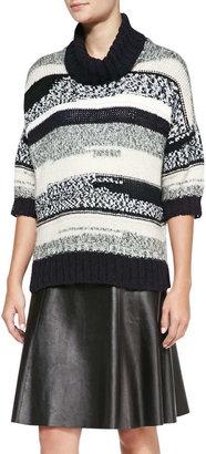 Derek Lam 10 Crosby Loose Striped Knit Turtleneck Sweater