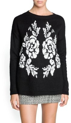 MANGO Outlet Mohair Wool-Blend Floral Sweater