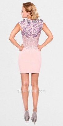 Atria Rosette Embellished Keyhole Sexy Cocktail Dress