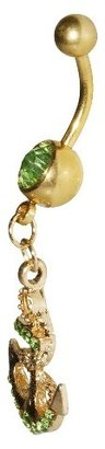 Women's Supreme Jewelry Curved Barbell Belly Ring with Stones - Gold/Green