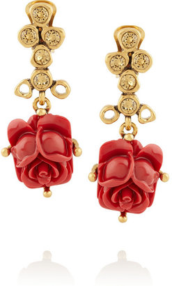 Oscar de la Renta Gold-plated crystal and resin rose drop earrings