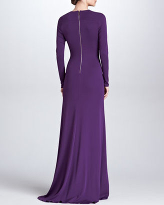 Elie Saab Sheer-Inset Long-Sleeve Gown, Royal Purple