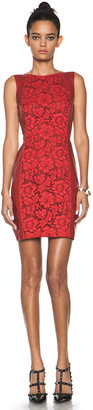 Valentino Leather and Lace Dress in Red