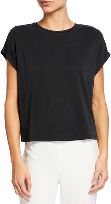 Eileen Fisher Bateau-Neck Cap-Sleeve Boxy Sandwashed Cupro Top