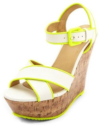 Charlotte Russe Neon Piped X-Front Wedge Sandal