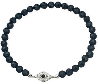 Beaded Black and CZ Evil Eye Stretch Bracelet