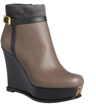 Fendi Black And Smoke Leather Wedge Ankle Boots
