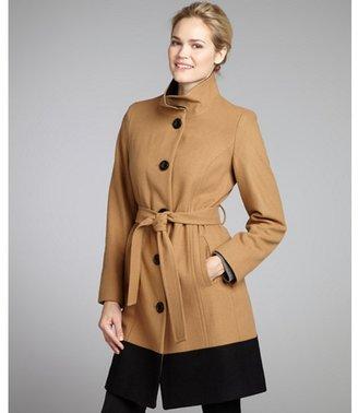 Anne Klein camel and black wool blend colorblock belted coat