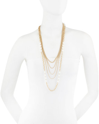 Greenbeads Multi-Strand Pearly Bead Necklace