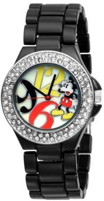 Disney Women's MK2080 Mickey Mouse Mother-of-Pearl Dial Black Enamel Bracelet Watch $29.99 thestylecure.com