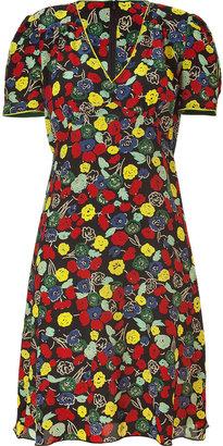 Anna Sui Black Floral Print Silk Dress
