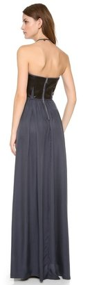 Rebecca Taylor Strapless Leather Maxi Dress