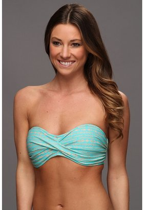 Body Glove Transition Molded Cup Twist Bandeau Top (Sea Blue) - Apparel