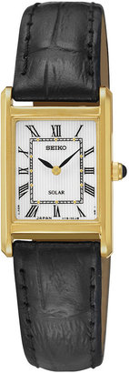 Seiko Womens Black Leather Strap Solar Watch SUP250 $195 thestylecure.com
