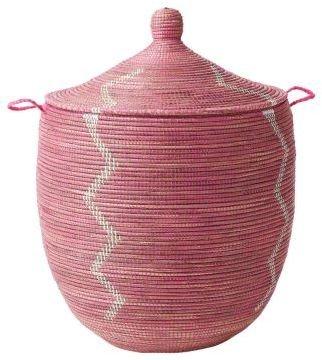 Senegalese Storage Basket Pink, Large