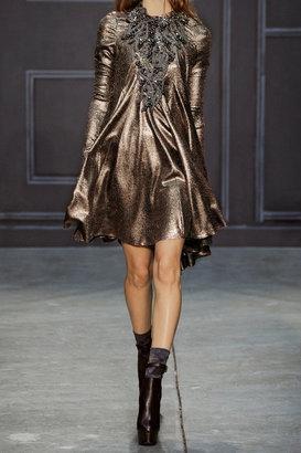 Vera Wang Stretch-lamé mini dress