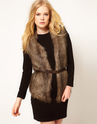 MANGO Faux Fur Belted Gilet With Knitted Back