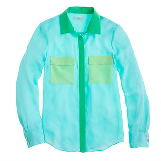 J.Crew Collection silk colorblock blouse