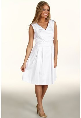 Tahari by Arthur S. Levine Tahari by ASL - Ginny Cotton Dress w/ Rushed Waist (White) - Apparel