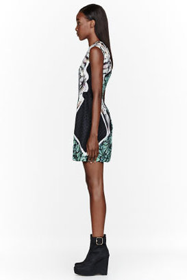 Peter Pilotto Black & jade silk patterned Alexa Dress