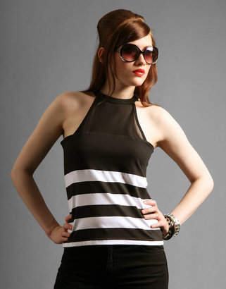 PPQ Stripe Cotton Jeresy Halter Neck