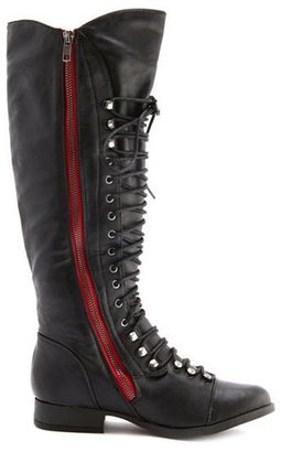 Charlotte Russe Exposed-Zip Lace Up Boot