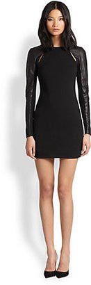 Yigal Azrouel Cut25 by Leather-Paneled Cutout Stretch Jersey Dress