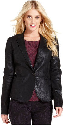 Calvin Klein Jeans Blazer, Long-Sleeve Faux-Leather