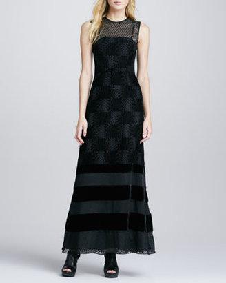 Nanette Lepore Enchanted Velvet-Stripe Gown
