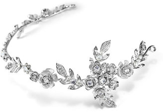 Halo & Co Rosebud Clusters And Tiny Leaf Headpiece In Rhodium