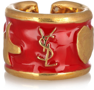 Yves Saint Laurent Ycons enameled gold-plated ring