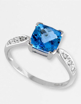 EFFY COLLECTION 14 Kt. White Gold Blue Topaz and Diamond Ring, 0.06 CT. T.W.