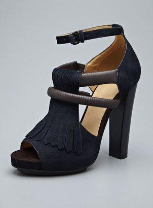L.A.M.B. Hortensia Leather Anklestrap Tassel Sandal