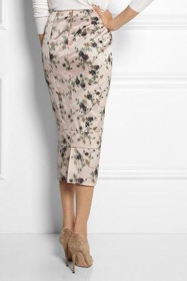 Rochas Floral-print silk-satin midi skirt