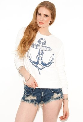 291 Venice Anchor Long Sleeve Crossback Pullover in White