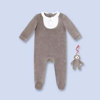 Jacadi Velour jumpsuit and cuddly toy